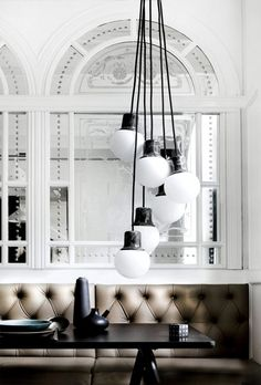 inspiration for repurposed version - I see upside-down ceramic pots and some kind of round glass balls in my future. Design Café, Deco Design, House Design, Light Design, Nordic Design, Design Trends, Design Ideas, Deco Restaurant, Restaurant Design
