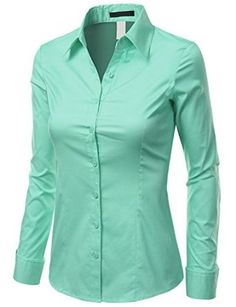 Doublju Women Long Sleeve Basic Simple Button-down Spandex Shirt $28.99 - $29.99 on amazon.com with 21 different colours!