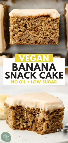 This Vegan Banana Snack Cake is moist fluffy and easy to bake up in 1 bowl. The perfect anyday cake that can be enjoyed as a snack dessert or even breakfast Oil Free Nut Free Gluten Free Option. Quick Vegan Breakfast, Breakfast Desayunos, Easy Cupcake Recipes, Healthy Dessert Recipes, Healthy Vegan Desserts, Egg Recipes, Pizza Recipes, Paleo Recipes, Free Recipes