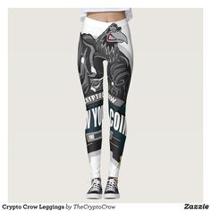Crypto Crow Leggings : Beautiful #Yoga Pants - #Exercise Leggings and #Running Tights - Health and Training Inspiration - Clothing for #Fitspiration and #Fitspo - Strong Female and Female Empowerment Apparel - #Fitness and Gym Inspo - #Motivational Colorful Workout Clothes by Talented Graphic Designers