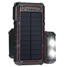 Solar Charger, Portable Solar Power Bank, External Solar Panel Battery Pack Phone Charger with Dual USB and 2 LED Flashlights for iPhone Plus, Samsung 8 and Solar Phone Chargers, Solar Charger, Solar Panel Battery, Solar Panels, Samsung S8 Note, Portable Solar Power, Note 8, Led Flashlight, Iphone 8