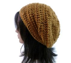 The Strata   Slouchy Beanie in Saffron Gold by Threadmill on Etsy, $32.00