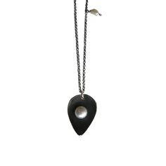 Oxidized silver charm necklace / designer jewelry/black necklace with white pearl/asimenio mentagion me margaritari/ellines sxediastes