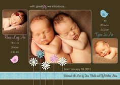 TWINS Baby Announcement three photo digital file by LucyLoos, $15.00