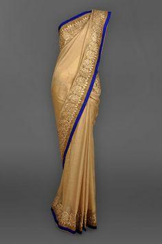 Antique Gold Tissue Sari with Heavy Gota Border