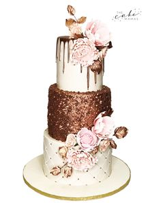 Pink and Gold Celebration Cake! Call or email to order your celebration cake today. Cakes Today, Pink And Gold Wedding, Cupcake Wars, Cake Decorating Tips, Drip Cakes, Sugar Flowers, Fondant Cakes, Celebration Cakes, Custom Cakes