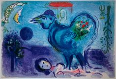 Paysage au coq / Landscape with rooster (M. 208). Original color lithograph, 1958. 100 signed & numbered proofs plus c. 2000 unsigned proofs as published in the deluxe art review, Derrière le Miroir in 1958 (of which ours is one). One of Chagall's most important lithographs, it depicts a marriage scene and its aftermath