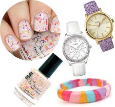 Combine color and glam with this confetti-inspired palette. We couldn't decide which wrist candy we liked best!