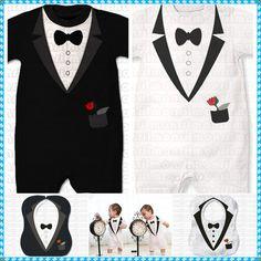 Baby Boy Wedding Christening Tuxedo Suit Bowtie One Piece Romper Outfit 0 12M