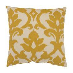 Pillow Perfect Azzure Marigold Yellow and White Damask Pattern Cotton Throw Pillow 18