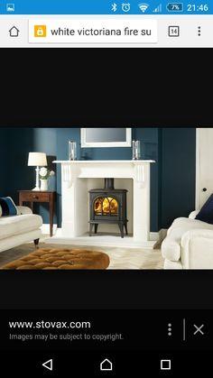 mantelpiece for wood burning stove Mantelpiece Decor, Edwardian Fireplace, Mantel Surround, Fire Surround, Fireplace Logs, Fireplaces, Traditional Fireplace, Wood Burning Fires, Log Burner