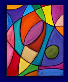Bright Colorful Original Abstract Painting Large by orabirenbaum