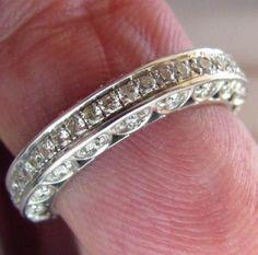 VINTAGE $2,980 14K Solid White Gold WOMEN Genuine DIAMOND WEDDING BAND RING NEW