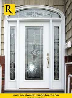 Single Entry Door, Two Side Lites, Transom, White Finish, Designer Glass Entry Doors With Glass, Glass Door, Fiberglass Entry Doors, Windows And Doors, Front Doors, Exterior Doors, Door Design, Things To Come, Rustic