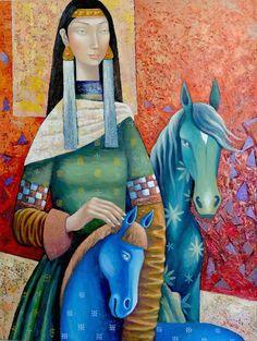 Blue horse 2015 61x81cm oil canvas by Zayasaikhan Sambuu - Mongolian Painter