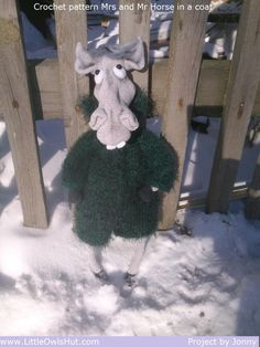 """Project by Jonny.""""Mr and Mrs horse"""" crochet pattern designed by Astashova for LittleOwlsHut was used to make this toy. Pattern is for an experienced crocheters. Coat is KNITTed not crochet. Toy has a wire frame inside but can't stand on its own. Look at our other horse projects pins for Ideas how to decorate you lovely toy. #LittleOwlsHut, #Amigurumi, #Astashova, #CrochetPattern, #Horse, #DIY, #Pattern, #Toy"""