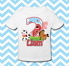 Birthday Boy Shirt Personalized Birthday Shirt by BabyBirthdayTee Giraffe Birthday, Farm Animal Birthday, Farm Birthday, 2nd Birthday Shirt, Barn Animals, Personalized Birthday Shirts, Farm Party, Farm Theme, 1st Birthdays