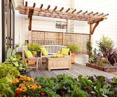 Space constraints may limit how much of a pergola you can include in an exterior space. But even a smaller pergola such as this can help to accent a home's patio, providing an interesting backdrop to an otherwise boring exterior facade. Here, a trellis offers a pretty and secluded backdrop for the seating space.