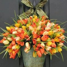 Gorgeous tulips in galvanized pail!