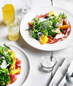 Herb salad with peaches and prosciutto - Gourmet Traveller