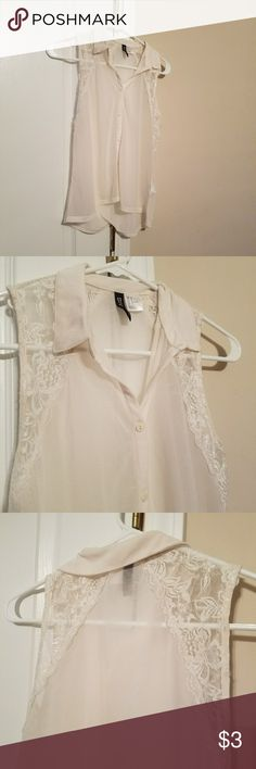 Divided tank with lace detail White collared tank with lace detail Divided Tops Tank Tops