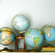 Geography 101...Vintage Globe Collection from ethanollie on etsy