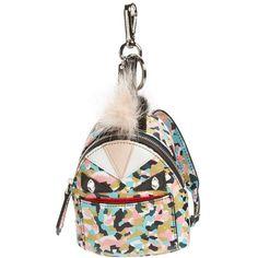 Fendi 'Granite' Genuine Fox & Nutria Fur Trim Backpack Bag Charm ($1,050) ❤ liked on Polyvore featuring bags, backpacks, saphire, shopping tote bags, print bags, white backpack, fancy backpacks e fox bags