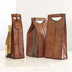 Leather Wine Bottle Carriers, Brown