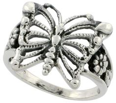 Sterling Silver Butterfly Ring w/ Floral Design 5/8 inch Long, sizes 6 to 10.5