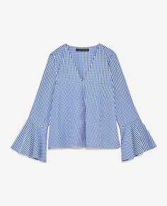 Image 8 of GINGHAM TOP WITH BELLED SLEEVES from Zara
