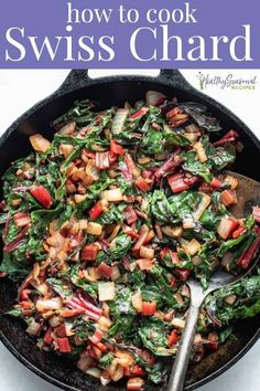 Here is the easiest way to cook swiss chard. Simply sauté it with onions and add a little balsamic vinegar on to finish. It\'s a healthy delicious keto and vegan side dish! Cooking Swiss Chard, Sauteed Swiss Chard, Swiss Chard Recipes, Vegan Side Dishes, Vegetable Side Dishes, Side Dish Recipes, Vegan Recipes Easy, Vegetable Recipes, Vegetarian Recipes
