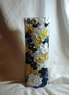 Button Covered Glass Vase, Blue/Yellow/White, $10