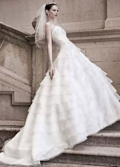 Tiered Strapless Ball Gown with Beaded Lace