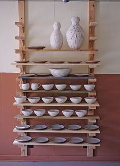 Ceramic Workshop, Ceramic Studio, Tall Shelves, Display Shelves, Ceramic Tools, Ceramic Artists, Pottery Equipment, Ceramics Monthly, Baseboard Molding