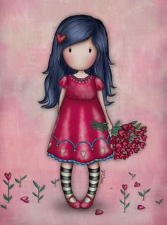 Cute Girl Drawing, Cute Drawings, People Illustration, Cute Illustration, Stitch Games, Cross Stitch Pictures, Little Doll, Pretty Art, Whimsical Art