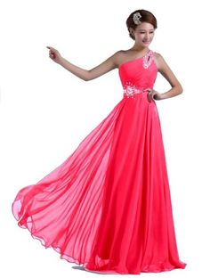 awesome DLFashion One-shoulder Floor Length Beaded Chiffon Prom Dress L-12 Hot Pink -Full lining and boned Chiffon shell fabric, polyester pongee lining Lace up back -http://weddingdressesusa.com/product/dlfashion-one-shoulder-floor-length-beaded-chiffon-prom-dress-l-12-hot-pink/