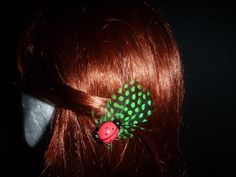 Green Polka Dot Feather Lady Beetle Clips (Pair) - Top End Millinery