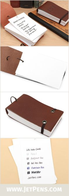 Made of genuine leather with rustic metal accents, Life Index Cards are the perfect pocket accessory for a prolific note-taker. 100 pages of high-quality cardstock are inside.