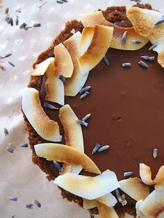 Fragrant Vanilla Cake: Little Dark Chocolate Coconut Lavender Tarts #food #recipe