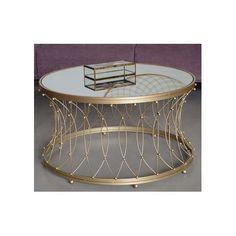 Mesa de centro redonda para salón.  Material: Hierro Encimera: Espejo Ancho: 90 cm Largo: 90 cm Alto: 50 cm Color: Oro