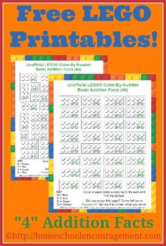"""Free LEGO Printables Weekly - """"4"""" Addition Facts Color-By-Number from #Homeschool Encouragement"""