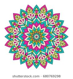 Find Flower Mandala Vintage Decorative Elements Oriental stock images in HD and millions of other royalty-free stock photos, illustrations and vectors in the Shutterstock collection. Mandala Art, Image Mandala, Mandala Drawing, Mandala Painting, Flower Mandala, Mandala Coloring Pages, Coloring Book Pages, Motif Vintage, Indian Patterns