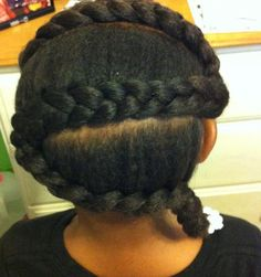 Lil girls style: Z pattern thick natural braid style