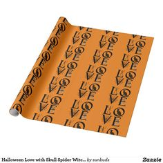 Halloween Love with Skull Spider Witch Cat Wrapping Paper