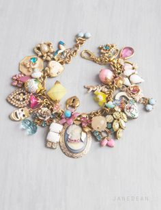 Marie Antoinette Charm Bracelet - candy colored vintage charms and beads by janedean
