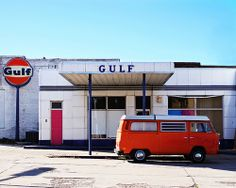 Old Gulf Station, Denton, Texas. Right off the Square: if it's still there. Denton Texas, Garage Repair, Gas Service, Old Garage, Old Gas Stations, Filling Station, Vintage Architecture, Gas Pumps, Tear Down