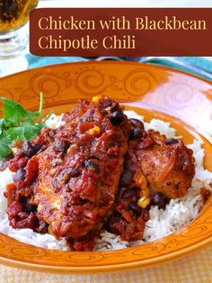 Chicken with Black Bean Chipotle Chili and Rice - A versatile, delicious meal that can easily be made to accommodate Vegetarians at the table too.