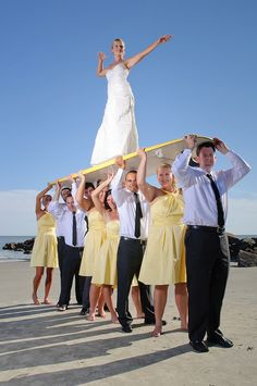 Probably one of the cutest wedding party photos I've ever seen, AND it's on Folly Beach!