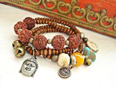 Yoga Bracelet  Rudraksha Bracelet  Boho by HandcraftedYoga on Etsy, $41.00