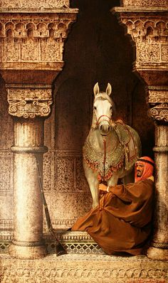 ♫ (Dig Art Photography, Arabian horse with Arabian man,I believe is from Morocco) Stanislav Plutenko Art Arabe, Jean Leon, Empire Ottoman, Arabian Art, Arabian Beauty, Islamic Paintings, Horse Art, North Africa, Abu Dhabi